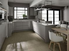 White and grey gloss kitchen ideas dove grey kitchen grey and white gloss kitchen ideas Handleless Kitchen, Grey Kitchen Cabinets, Kitchen Flooring, Kitchen Grey, Nice Kitchen, Kitchen Corner, Grey Kitchen Designs, Contemporary Kitchen Design, Kitchens And Bedrooms