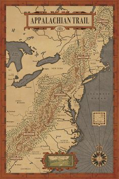 Appalachian Trail Map. Imagine the epic journey of hiking the Appalachian Trail for 6 months.