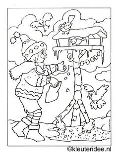 Colouring girl with birdhouse, kleuteridee. Christmas Coloring Pages, Coloring Book Pages, Coloring Sheets, Christmas Colors, Winter Christmas, Mandala Winter, Christmas Embroidery, Winter Kids, Winter Colors