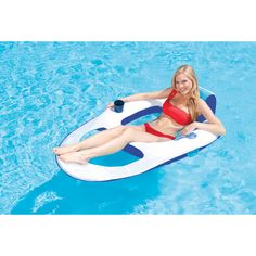 Offering all of the best comfort features of the Spring Float Includes backrest, headrest, ottoman, and cup holder Springs open, springs closed instantly Easily inflates and deflates Features deluxe nylon mesh bag with sturdy shoulder strap