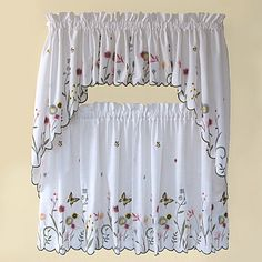 These decorative tier curtains bring a summer garden, complete with flowers and butterflies, to your kitchen window. Tiers, valance and swag have a delicate, scalloped-embroidered edge. Shabby Chic Curtains, Tier Curtains, Window Curtains, Kitchen Curtains, Bathroom Curtains, Mason Jar Wedding Invitations, Pallet Seating, Garden Windows, Home Organization Hacks