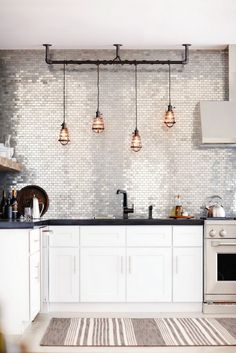 Cage ceiling pendant lights in kitchen