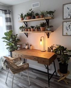Home Office Design, Home Office Decor, Diy Home Decor, House Design, Office Desk, Natural Home Decor, Vintage Office Decor, Living Room Decor, Home Decor Ideas