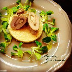 Taleggio stuffed Pork with Parmesan Polenta cake