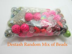 1 Bag of Destash Beads and Charms Glass Acrylic Bead Random Sizes Colors Mix Beads Large Bag by OverstockBeadSupply on Etsy