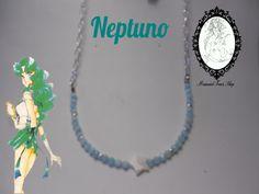 Precioso collar de ágatas turquesas y estrella de nácar, inspirado en Sailor Neptune. http://tienda-mermaidtearsshop.rhcloud.com/es/gargantillas/68-sailor-moon-inspiration.html
