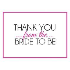 bridal shower thank you wording