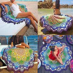 """- Buy """"Hot Women Chic Tassel Indian Mandala Tapestry Lotus Printed Bohemian Beach Towel Yoga Mat Sunblock Round Bikini Cover-Up Blanket"""" for only USD. Manta Mandala, Mandala Indio, Lotus Mandala, Yoga Blanket, Beach Blanket, Boho Tapestry, Mandala Tapestry, Mandala Blanket, Meditation Mat"""