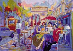 """Isaac Maimon Fine Art Bus Stop Cafe Maimon's paintings capture the French """"boulevard culture,""""  of Lautrec. Bonnard...  Born in Israel in 1951, to French speaking parents, he showed an early artistic ability that was  supported by his family. He served in the military,then attended the Avni Institute of Fine Art in Tel Aviv, the most prestigious academy for the arts in Israel. This is where his initial interest in the Paris school was cultivated"""