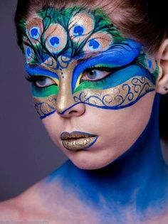 GORGEOUS peacock makeup. Peacock Halloween costume!