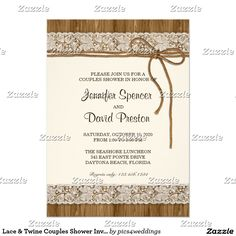 Lace & Twine Couples Shower Invitation