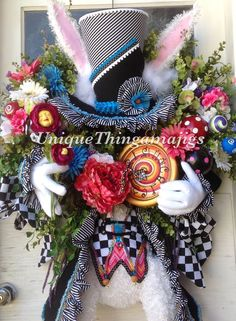 Mad Hatter Rabbit Easter, Spring, Summer, Wonderland Wreath, PRE Order for 2017 delivery!  Please see production time.... by UniqueThingamajigs on Etsy https://www.etsy.com/listing/231487327/mad-hatter-rabbit-easter-spring-summer