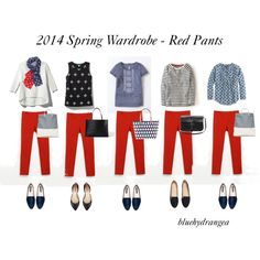 Spring Wardrobe - Red Pants, created by bluehydrangea on Polyvore