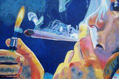 Midnight Toker - by Anita Toke - acrylic on canvas 30 inches x 20 inches