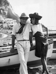 """Peter Sellers and Britt Ekland on the set of """"After the Fox""""."""
