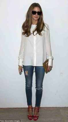 Olivia Palermo super style!! LOVE the ripped jeans and shirt!