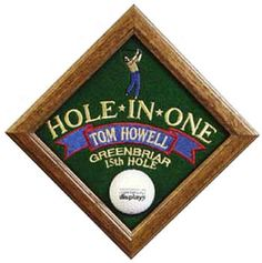 Our personalized Hole-In-One display is a wonderful way to honor your achievement. Just supply us with your name, course name and hole number and we will embroider the logo and information right onto the plaque! Trophy Plaques, Golf Trophies, Hole In One, Golf Ball, Shadow Box, Fun, Awards, Gifts, Faces