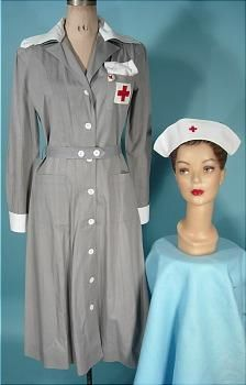 """WWII """"Gray Lady"""" Red Cross cotton dress and hat American Red Cross Volunteer, Vintage Military Uniforms, Gray Lady, Evansville Indiana, Vintage Nurse, Nurse Hat, 1940s Fashion, Cotton Dresses, Nursing"""