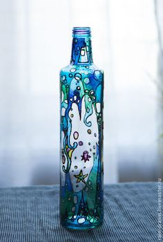 Бутылка декоративная Морская.   Hand painted stained glass