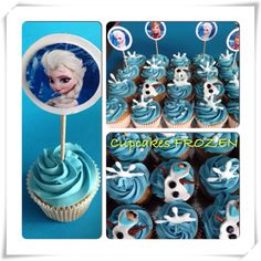 Maybe snowflakes out of royal icing paired with the broken chunks of candy ice. a little sprinkling of some coarse sugar to look like snow/ice. Could also use blue velvet or blueberry cake mix. Frozen Cupcakes, Disney Cupcakes, Frozen Cake, Cupcake Cakes, Party Cupcakes, Themed Cupcakes, Disney Frozen Party, Frozen Birthday Party, 4th Birthday Parties