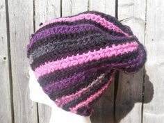 Slouchy crochet skull cap in pinks, purple, black and gray