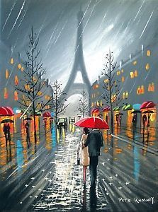 Canvas painting of couple by red plane   PETE RUMNEY FINE ART PARIS DOWNPOUR RED UMBRELLA EIFFEL TOWER COUPLE ...