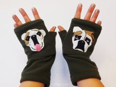Personalized Bulldog Gift. Fingerless Gloves with by BZfingers, $38.00