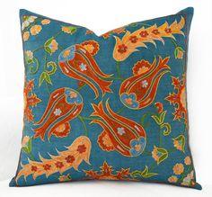 botanical carnation embroidery silk suzani cushion 20 x 20 throw pillow covers needlepoint pillow