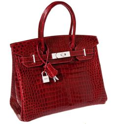 Hello lover.....Hermès Exceptional Collection Shiny Rouge H Porosus Crocodile 30 cm Birkin Bag with Solid 18K White Gold & Diamond Hardware.