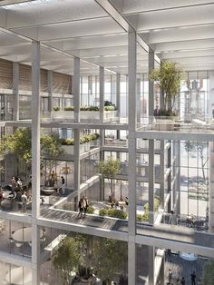 The 18,800 square-metre office building, filled with light and greenery, encourages a spirit of co-creation and collaboration. Foster Architecture, Office Building Architecture, Architecture Office, Concept Architecture, Sustainable Architecture, Sustainable Design, Architecture Details, Light In Architecture, Innovative Architecture