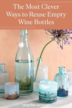 Transform any glass bottles into pretty home decor like flower vases and tabletop centerpieces, decanters for everything from soaps and salad dressings, and hostess gifts. #marthastewart #diydecor #diyprojects #diyideas #hobby Empty Glass Bottles, Bottles And Jars, Glass Vase, Wine Bottle Crafts, Salad Dressings, Craft Projects, Craft Ideas, Hostess Gifts, Flower Vases