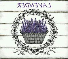 Vintage Lavender Basket Wreath Large Instant by CreatifBelle Vintage Diy, Decoupage Vintage, Vintage Labels, Vintage Images, Lavender Crafts, Etiquette Vintage, Image Digital, Foto Transfer, Iron On Fabric