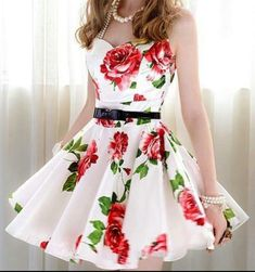 White dress with rose printing.