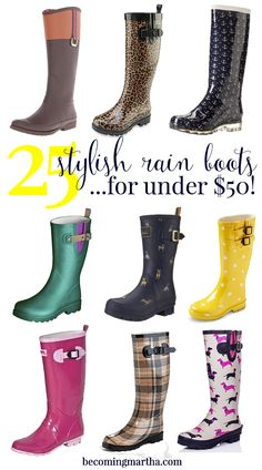 Looking for a new pair of stylish rain boots for spring? Here are 25 great options, all under $50!