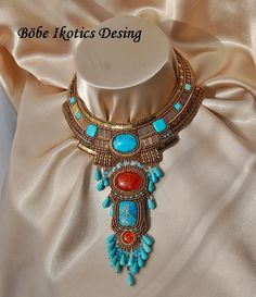 Bead Embroidery  Necklace  Collar   Blue by BobeIkoticsBeads, $385.00