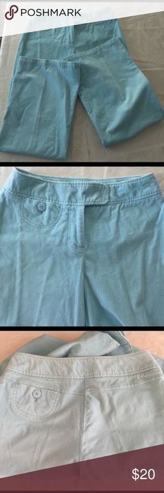 "Chadwick's corduroy pants. Gorgeous light blue flare leg cords. Small scoop pocket on front & back. Color shown best in first & second pic. No wear, stain or rips. EUC inseam 30"" Chadwicks Pants Boot Cut & Flare"