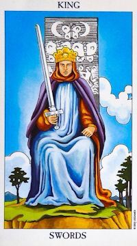 KING OF SWORDS~ Passionate, attentive, sensitive, fair. This card urges you to rely on your thoughts and logic as opposed to feelings, when making decisions. He is very forceful and used to getting his way. Power, command, militant intelligence, authority. The king may act as a significator for your father or another authority figure, or it may apply to yourself, if you are in a position of mastery and authority. He can also represent a male love interest. The king often represents a person…