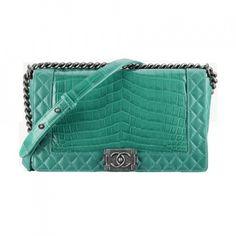 Chanel Chanel green python skin Boy Chanel flap bag series