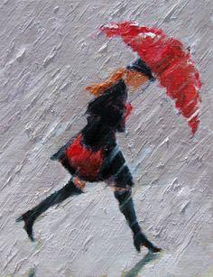 """Walk On"" - red umbrella rain painting   Gina Brown Art"