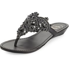Premium Collection By Yellow Box Amee Embellished Thong Sandal ($67) ❤ liked on Polyvore featuring shoes, sandals, black, flat thong sandals, jeweled thong sandals, toe thongs, black sandals and jeweled shoes