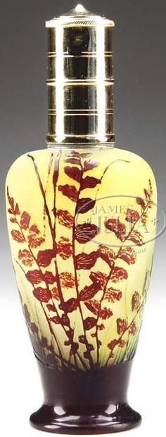 IMAGE: A Galle Cameo glass perfume burner, brown and green mottled fern…