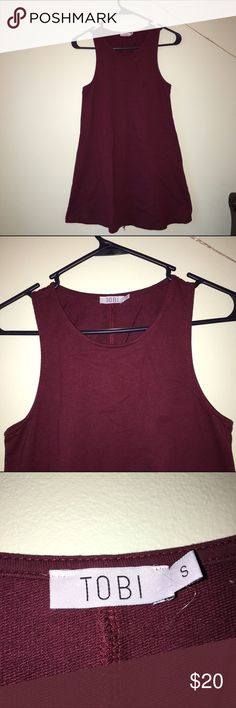 Maroon dress from Toni Maroon dress from Tobi with scoop neck. Very short but otherwise perfect condition! Tobi Dresses Mini