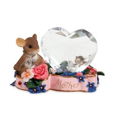 """Charming Tales Mouse with Crystal Heart Figurine 2.5"""". #CharmingTails #Statue #Sculpture #Figurine #Decor #Gift #gosstudio .★ We recommend Gift Shop: http://www.zazzle.com/vintagestylestudio ★"""