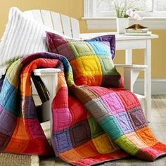 Patchwork of solids quilt- love the colors - love the simple quilting. Quilt Baby, Colchas Quilt, Plaid Quilt, Quilt Blocks, Quilt Pillow, Quilting Projects, Quilting Designs, Sewing Projects, Quilting Ideas
