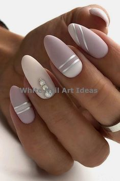 30 Perfect Pink And White Nails For Brides ❤ pink and white nails nude with silver stripes and pearls naturelle_nails We have collected temeless ideas of pink and white nails, which enchantingly complete the image of bride. Enjoy the ideas in our gallery! White Gel Nails, White Nail Art, Cute Acrylic Nails, Pink Nail Art, Floral Nail Art, Silver Nails, Bride Nails, Prom Nails, Fancy Nails