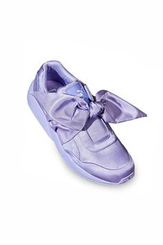 FENTY PUMA by Rihanna, Bow Sneaker FENTY PUMA by Rihanna's trainers in the season's soft lavender hue get all dolled up with an allover lustrous satin construction that's finished off with a knotted bow., Available online only, not in stores, US WOMEN'S SIZING, Almond toe, Signature PUMA side logo, Padded collar, Tonal rubber soles, Imported
