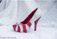 Red and white glitter candy cane heels by BeYouEveryday on Etsy Christmas Shoes, Candy Melts, White Glitter, Candy Cane, Charlotte Russe, Im Not Perfect, Red And White, High Heels, Mary