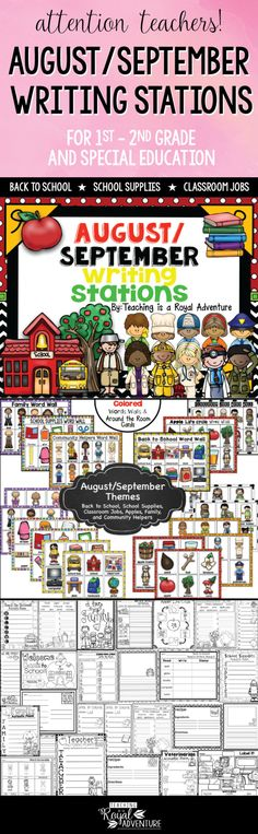 This multi-page August and September Writing Stations packet is the perfect addition to your Daily 5 stations. The themes included are: Back to School, School Supplies, Classroom Jobs, Apples, Community Helpers, and Family. Perfect for ESL, homeschool, special education, preschool, kindergarten, first grade, second grade and third grade. Click to download now. #firstgrade #secondgrade #kindergartenteacher #earlylearning #homeschool #specialeducation