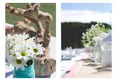 Southern California Dana Point Wedding Photography      mason jar daisies driftwood centerpiece