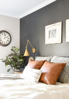 High Contrast Paint Colors Of My Little House. High Contrast Paint Colors Of My Little House. High Contrast Paint Colors Of My Little House Stylish Bedroom, Modern Bedroom, Master Bedroom, Master Suite, Accent Wall Bedroom, Gray Gold Bedroom, Bedroom Accent Walls, Black Accent Walls, Accent Wall Colors